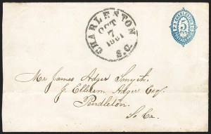 Sale Number 1182, Lot Number 232, Confederate and Civil War: Postmasters' Provisionals (Albany Ga. thru Houston Tex.)Charleston S.C., 5c Blue entire (16XU1), Charleston S.C., 5c Blue entire (16XU1)