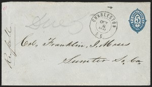 Sale Number 1182, Lot Number 233, Confederate and Civil War: Postmasters' Provisionals (Albany Ga. thru Houston Tex.)Charleston S.C., 5c Blue on Blue entire (16XU5), Charleston S.C., 5c Blue on Blue entire (16XU5)