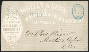 Sale Number 1182, Lot Number 234, Confederate and Civil War: Postmasters' Provisionals (Albany Ga. thru Houston Tex.)Columbia S.C., 5c Blue entire (18XU1), Columbia S.C., 5c Blue entire (18XU1)