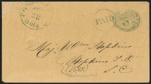 Sale Number 1182, Lot Number 237, Confederate and Civil War: Postmasters' Provisionals (Albany Ga. thru Houston Tex.)Columbia S.C., 5c Blue entire, Seal on Front (18XU11), Columbia S.C., 5c Blue entire, Seal on Front (18XU11)