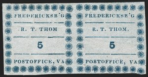 Sale Number 1182, Lot Number 238, Confederate and Civil War: Postmasters' Provisionals (Albany Ga. thru Houston Tex.)Fredericksburg Va., 5c Blue on Thin Bluish (26X1), Fredericksburg Va., 5c Blue on Thin Bluish (26X1)
