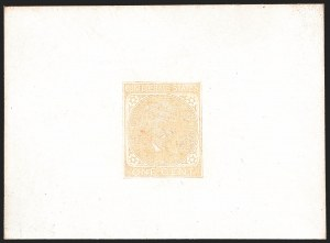 Sale Number 1182, Lot Number 295, Confederate and Civil War: General Issues Essays and Proofs1c Orange, De La Rue, Die Proof on Glazed Card (14P1b), 1c Orange, De La Rue, Die Proof on Glazed Card (14P1b)