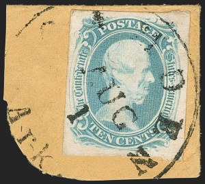 "Sale Number 1182, Lot Number 320, Confederate and Civil War: General Issues Off-Cover (Scott 1-14)10c Blue, ""TEN"" (9), 10c Blue, ""TEN"" (9)"