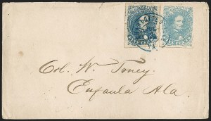 Sale Number 1182, Lot Number 384, Confederate and Civil War: General Issues On-Cover (Scott 4-5)5c Blue, Light Milky Blue, Stone 3 (4, 4b), 5c Blue, Light Milky Blue, Stone 3 (4, 4b)