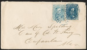Sale Number 1182, Lot Number 385, Confederate and Civil War: General Issues On-Cover (Scott 4-5)5c Blue, Light Milky Blue, Stone 3 (4, 4b), 5c Blue, Light Milky Blue, Stone 3 (4, 4b)