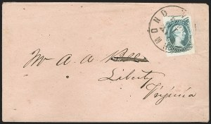 "Sale Number 1182, Lot Number 437, Confederate and Civil War: General Issues On-Cover (Scott 8-10)10c Gray Blue, ""TEN"" (9b), 10c Gray Blue, ""TEN"" (9b)"