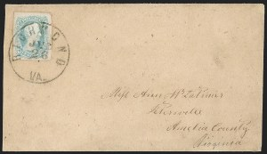 "Sale Number 1182, Lot Number 439, Confederate and Civil War: General Issues On-Cover (Scott 8-10)10c Milky Blue, ""TEN"" (9a), 10c Milky Blue, ""TEN"" (9a)"