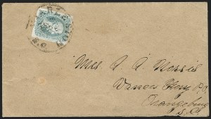 "Sale Number 1182, Lot Number 440, Confederate and Civil War: General Issues On-Cover (Scott 8-10)10c Milky Blue, ""TEN"" (9a), 10c Milky Blue, ""TEN"" (9a)"