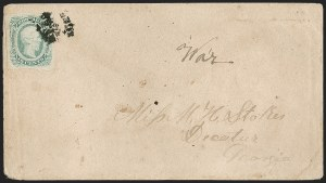 Sale Number 1182, Lot Number 452, Confederate and Civil War: General Issues On-Cover (Scott 11-13)10c Greenish Blue, Die B (12c), 10c Greenish Blue, Die B (12c)