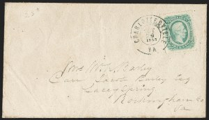 Sale Number 1182, Lot Number 454, Confederate and Civil War: General Issues On-Cover (Scott 11-13)10c Blue, Die B, Perforated (12f), 10c Blue, Die B, Perforated (12f)