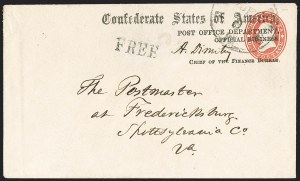 Sale Number 1182, Lot Number 506, Confederate and Civil War: Official Imprints (Post Office Dept.)Post Office Department, Official Business, Chief of the Finance Bureau (FIN-04a), Post Office Department, Official Business, Chief of the Finance Bureau (FIN-04a)