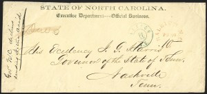 Sale Number 1182, Lot Number 604, Confederate and Civil War: State ImprintsRaleigh N.C., 10c on 5c Red on Yellow entire (68XU1 var), Raleigh N.C., 10c on 5c Red on Yellow entire (68XU1 var)