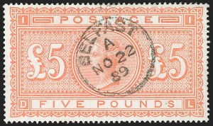 Sale Number 1183, Lot Number 1023, Great BritainGREAT BRITAIN, 1882, £5 Orange (93; SG 137), GREAT BRITAIN, 1882, £5 Orange (93; SG 137)