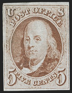 "Sale Number 1185, Lot Number 10, St. Louis Postmaster's Provisional, 1847 Issue and Reproduction5c Red Brown, Crack in ""T"" Variety (1 var), 5c Red Brown, Crack in ""T"" Variety (1 var)"