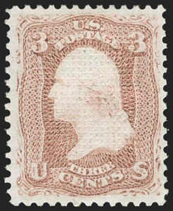 Sale Number 1185, Lot Number 44, 1867-68 Grilled Issue thru 1875 Re-Issue of 1861-66 Issue3c Rose, C. Grill (83), 3c Rose, C. Grill (83)