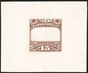 Sale Number 1185, Lot Number 53, 1869 Pictorial Issue and Re-Issue15c Red Brown, Ty. II Frame Only, Die Proof on India (119-E1a), 15c Red Brown, Ty. II Frame Only, Die Proof on India (119-E1a)