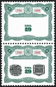 Sale Number 1185, Lot Number 89, Pan-American Issue, 20th Century Issues including Non-Inverted Jenny29c New York Stock Exchange Bicentennial, Center Inverted, Omitted Pair (2630d), 29c New York Stock Exchange Bicentennial, Center Inverted, Omitted Pair (2630d)