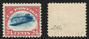 Sale Number 1185, Lot Number 91, Inverted Jenny Positions 15 and 624c Carmine Rose & Blue, Center Inverted (C3a), 24c Carmine Rose & Blue, Center Inverted (C3a)