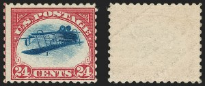 Sale Number 1185, Lot Number 92, Inverted Jenny Positions 15 and 624c Carmine Rose & Blue, Center Inverted (C3a), 24c Carmine Rose & Blue, Center Inverted (C3a)
