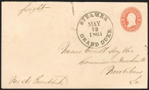 Sale Number 1186, Lot Number 512, Steamboat Mail-Independent and C.S.A. Use of U.S. StampsSteamer Grand Duke May 12, 1861, Steamer Grand Duke May 12, 1861
