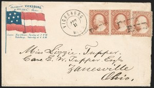 Sale Number 1186, Lot Number 522, Patriotics-Independent and Confederate State Use of U.S. StampsVicksburg Miss. Apr. 11 (1861), Vicksburg Miss. Apr. 11 (1861)
