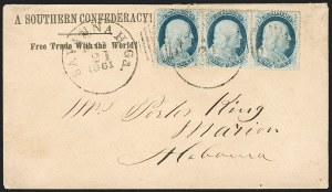 Sale Number 1186, Lot Number 523, Patriotics-Independent and Confederate State Use of U.S. StampsSavannah Ga. Jan. 21, 1861, Savannah Ga. Jan. 21, 1861