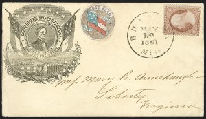 Sale Number 1186, Lot Number 525, Patriotics-Independent and Confederate State Use of U.S. StampsBrandon Miss. May 19, 1861, Brandon Miss. May 19, 1861