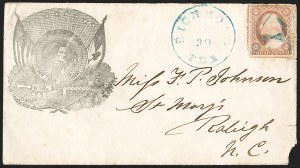 Sale Number 1186, Lot Number 527, Patriotics-Independent and Confederate State Use of U.S. StampsRichmond Tex. Mar.(?) 30 (1861), Richmond Tex. Mar.(?) 30 (1861)