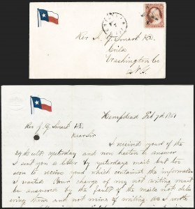 Sale Number 1186, Lot Number 528, Patriotics-Independent and Confederate State Use of U.S. StampsHempstead Tex. Feb. 7 (1861), Hempstead Tex. Feb. 7 (1861)
