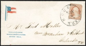 Sale Number 1186, Lot Number 529, Patriotics-Independent and Confederate State Use of U.S. StampsHouston Tex. May 4, 1861, Houston Tex. May 4, 1861