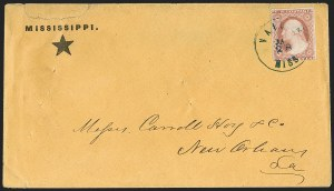 Sale Number 1186, Lot Number 530, Patriotics-Independent and Confederate State Use of U.S. StampsVaiden Miss. Jan. 28 (1861), Vaiden Miss. Jan. 28 (1861)