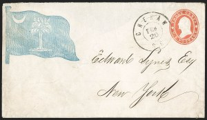 Sale Number 1186, Lot Number 532, Patriotics-Independent and Confederate State Use of U.S. StampsCheraw S.C. Feb. 20 (1861), Cheraw S.C. Feb. 20 (1861)