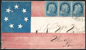 Sale Number 1186, Lot Number 533, Patriotics-Independent and Confederate State Use of U.S. StampsHolly Springs Miss. Mar. 25, 1861, Holly Springs Miss. Mar. 25, 1861