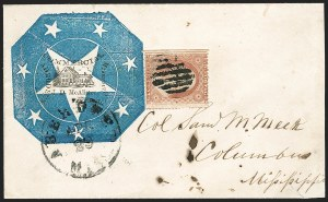 Sale Number 1186, Lot Number 535, Patriotics-Independent and Confederate State Use of U.S. StampsAberdeen Miss. Apr. 29 (1861), Aberdeen Miss. Apr. 29 (1861)