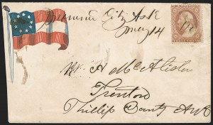 "Sale Number 1186, Lot Number 536, Patriotics-Independent and Confederate State Use of U.S. Stamps""Mound City Ark. May 14"" (1861), ""Mound City Ark. May 14"" (1861)"