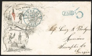 Sale Number 1186, Lot Number 557, Patriotics-Handstamped Paid and Due MarkingsTuskegee Ala., Oct. 30, 1861, Tuskegee Ala., Oct. 30, 1861