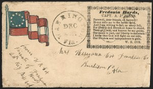 Sale Number 1186, Lot Number 572, Patriotics-Handstamped Paid and Due MarkingsWarrington Fla. Dec. ? (1861), Warrington Fla. Dec. ? (1861)