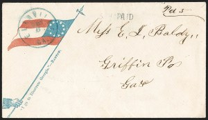 Sale Number 1186, Lot Number 574, Patriotics-Handstamped Paid and Due MarkingsEllaville Ga. Dec. 6 (1861), Ellaville Ga. Dec. 6 (1861)