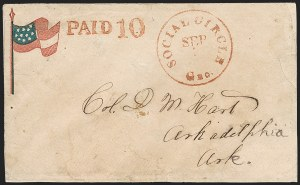 Sale Number 1186, Lot Number 577, Patriotics-Handstamped Paid and Due MarkingsSocial Circle Ga. Sep. 1?, Social Circle Ga. Sep. 1?
