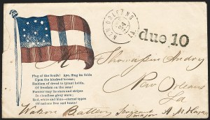 Sale Number 1186, Lot Number 579, Patriotics-Handstamped Paid and Due MarkingsNew Orleans La. Oct. 21, 1861, New Orleans La. Oct. 21, 1861