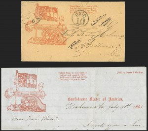 Sale Number 1186, Lot Number 581, Patriotics-Handstamped Paid and Due MarkingsRichmond Va. Aug. 1, 1861, Richmond Va. Aug. 1, 1861