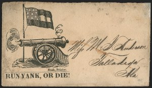 "Sale Number 1186, Lot Number 584, Patriotics-Handstamped Paid and Due Markings(Mississippi) ""Run Yank, or Die!"", (Mississippi) ""Run Yank, or Die!"""