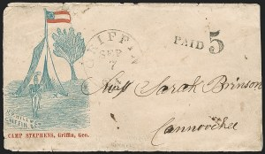 Sale Number 1186, Lot Number 587, Patriotics-Handstamped Paid and Due MarkingsGriffin Ga. Sep. 7 (1861), Griffin Ga. Sep. 7 (1861)