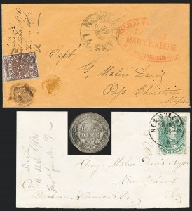 Sale Number 1186, Lot Number 848, Steamboat Mail-Confederate Postal SystemNew Orleans La., 5c Red Brown on Bluish (62X4), New Orleans La., 5c Red Brown on Bluish (62X4)