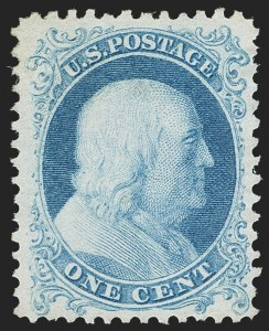 Sale Number 1187, Lot Number 101, 1875 Reprint of 1857-60 Issue (Scott 40-47)1c Bright Blue, Reprint (40), 1c Bright Blue, Reprint (40)