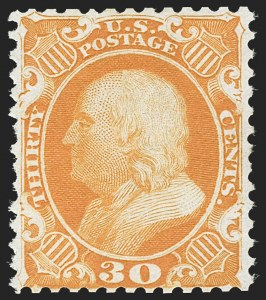 Sale Number 1187, Lot Number 112, 1875 Reprint of 1857-60 Issue (Scott 40-47)30c Yellow Orange, Reprint (46), 30c Yellow Orange, Reprint (46)