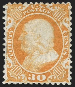 Sale Number 1187, Lot Number 113, 1875 Reprint of 1857-60 Issue (Scott 40-47)30c Yellow Orange, Reprint (46), 30c Yellow Orange, Reprint (46)