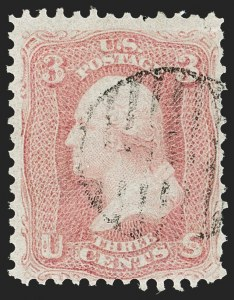 Sale Number 1187, Lot Number 122, 1861-66 Issue (Scott 56-78)3c Pigeon Blood Pink (64a), 3c Pigeon Blood Pink (64a)