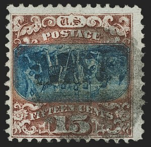 Sale Number 1187, Lot Number 211, 1869 Pictorial Issue Inverts (Scott 119b-120b)15c Brown & Blue, Ty. II, Center Inverted (119b), 15c Brown & Blue, Ty. II, Center Inverted (119b)