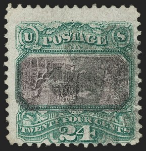 Sale Number 1187, Lot Number 212, 1869 Pictorial Issue Inverts (Scott 119b-120b)24c Green & Violet, Center Inverted (120b), 24c Green & Violet, Center Inverted (120b)